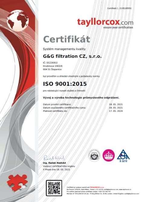 ISO 9001: 2015 Rozwój i produkcja technologii odpylania przemysłowego.